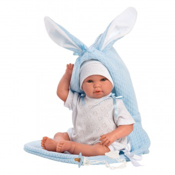 Hiszpańska lalka bobas chłopiec króliczek 36cm - płaczący