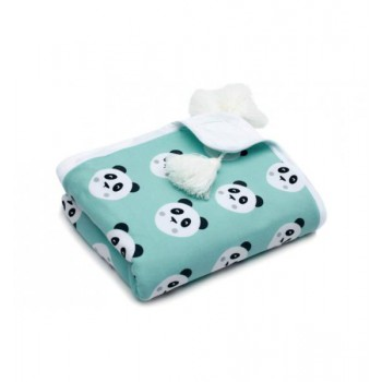 Bawełniany Kocyk dla Dzieci i Niemowląt (Pandy buźki)