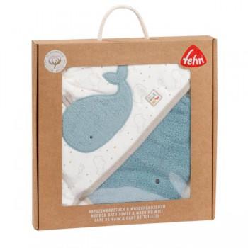 Ręcznik z kapturem i myjką, Wieloryb, z kolekcji: