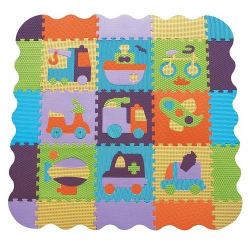 Piankowe puzzle podłogowe Bajkowy Transport z obrzeżem – 83 elementy