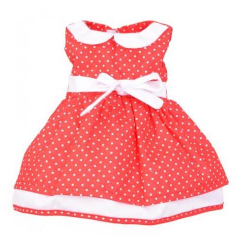 Sukienka dla lalki 35-45cm Elizabeth - czerwona w kropki