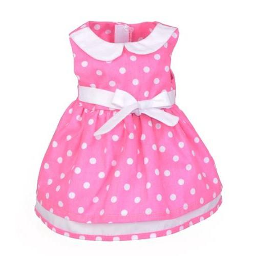 Sukienka dla lalki 35-45cm Elizabeth - różowa w kropki